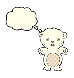 Frightened polar bear cartoon with thought bubble vector
