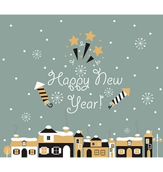 Happy new year greeting card winter town vector