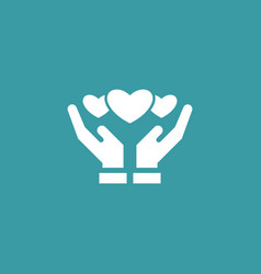 Hearts on hands icon simple love valentine sign vector