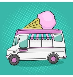 Ice cream van pop art style vector image