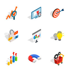 Internet shopping icons isometric 3d style vector