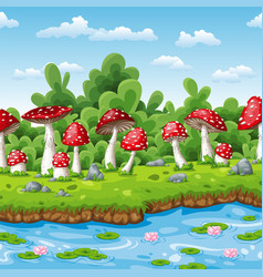 landscape of some fly mushrooms and water vector image vector image