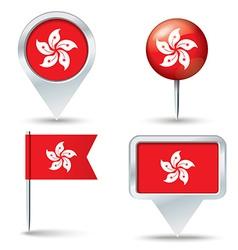 Map pins with flag of Hong Kong vector image