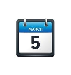 March 5 Calendar icon flat vector image vector image