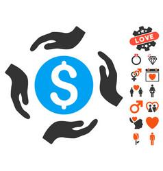 Money care hands icon with valentine bonus vector
