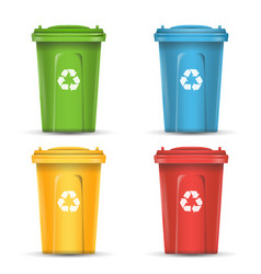 Realistic containers for recycling waste sorting vector