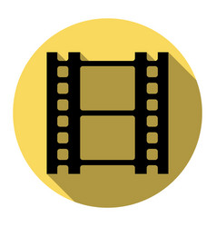 Reel of film sign flat black icon with vector