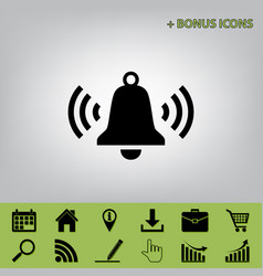 Ringing bell icon black icon at gray vector