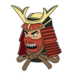 Samurai mask helmet warrior design icon vector