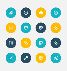 Set of 16 editable service icons includes symbols vector