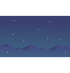 Silhouette of mountain and star landscape vector