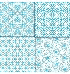 Simple floral blue color pattern set vector image vector image