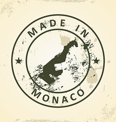 Stamp with map of monaco vector