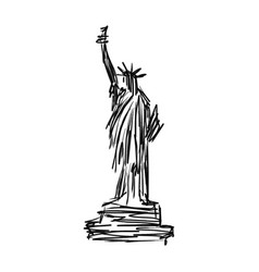 statue of liberty sketch hand drawn vector image vector image