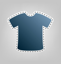 T-shirt sign blue icon with outline for vector