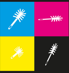 Toilet brush doodle white icon with vector