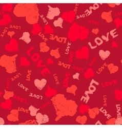 Valentine background painted hearts and words love vector