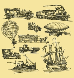 Vintage hand drawn transportation vector