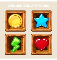 Wooden box app icons vector image vector image