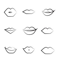 Lips thin line icon collection vector