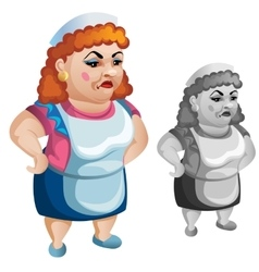 Adult woman in apron seller of food character vector