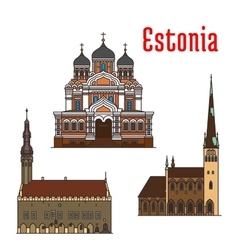 Estonia famous historic architecture icons vector