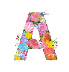 Fashion alphabet from lovely flowers of daffodils vector