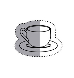 Sticker silhouette dish porcelain with cup icon vector