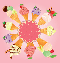 Greeting card with round frame and ice cream cones vector