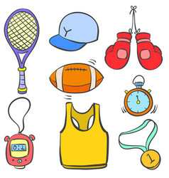 Object sport various doodle style vector
