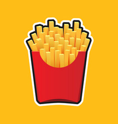 french fries in red package vector image