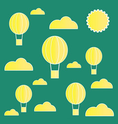 Yellow paper balloons with clouds on green vector
