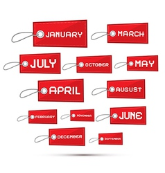 Months of the year red sale paper labels tags set vector