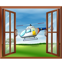 A helicopter outside the window vector