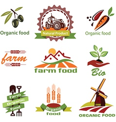Farm agriculture icons labels collection set1 vector