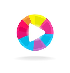 Play button symbol colorful bright design easy vector