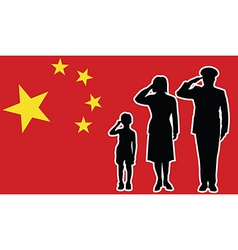 China soldier family salute vector