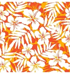 Orange and white tropical flowers silhouettes vector