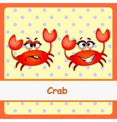 Crab funny characters on a yellow background vector