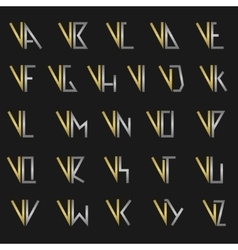 Letter V with alphabet vector image
