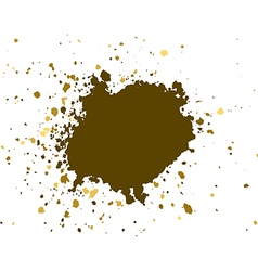 Gold brush paint stroke with rough edges on white vector