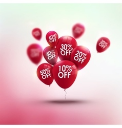 Trendy sale background with red baloons and vector
