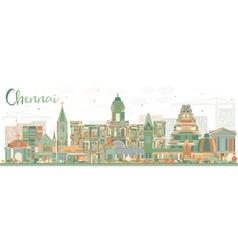 Abstract chennai skyline with color landmarks vector