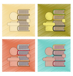 assembly flat shading style icon schoolboy books vector image vector image