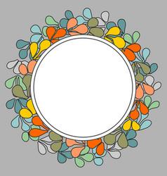 Autumn laurel wreath frame on grey background vector