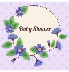 Baby shower with round floral banner vintage blue vector image vector image