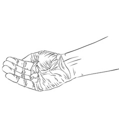 Begging hand detailed black and white lines vector image vector image