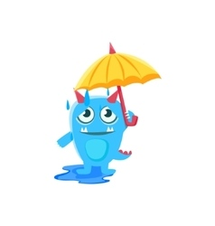 Blue monster with horns and spiky tail umbrella vector