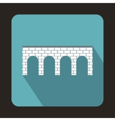 Brick bridge icon flat style vector