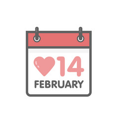 Calendar icon 14 february valentines day vector